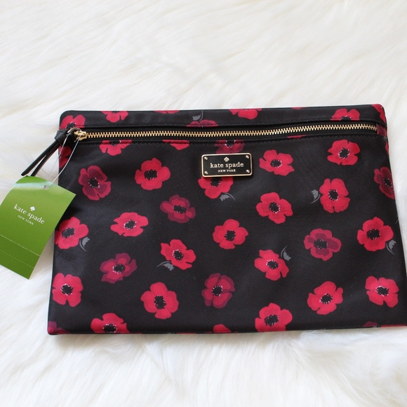 kate spade Handbags - Kate Spade Clutch Pouch Red Floral Bag